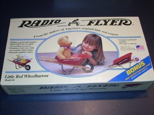 RADIO FLYER Little Red Wheelbarrow Model #4. Genuine hardwood handles. For ages 2 and up. Ideal kid's toy or adult decorating accessory. Seamless steel tray with no -scratch rolled edges. Bonus #400 Mini Wheelbarrow Included. (Mini Red Wagon Radio Flyer compare prices)
