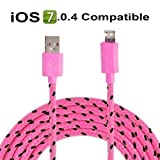 3 metre Hot Pink 8 Pin Charger Cable and Sync Lead,Unbreakable Braided Cable compatible with iPhone 5,5c,5s,iPad Mini, 4G,iPod Touch 5G,Nano 7G