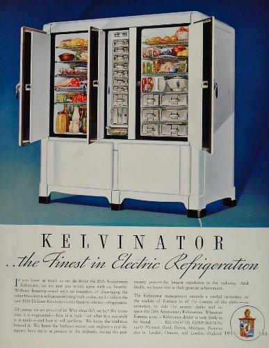 1934 Ad Kelvinator Refrigerator 3 Door Deluxe Fridge