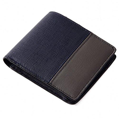 (ラファエロ) Raffaello 一流の革職人が作る エグゼクティブ御用達レザーであるサフィアーノレザーで大人カジュアルに仕立てたメンズ二つ折財布 革財布 本革 メンズ財布 (ロイヤルネイビー)