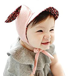 Aivtalk Boys Girls Soft Organic Cotton Infant Pilot Cap Hats with Ear Flaps,One Size,Pink2