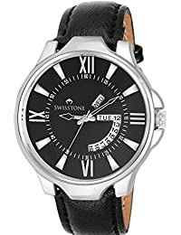 Swisstone WHT105-BLK-BLK Day And Date Black Dial Black Leather Strap Watch For Men/Boys