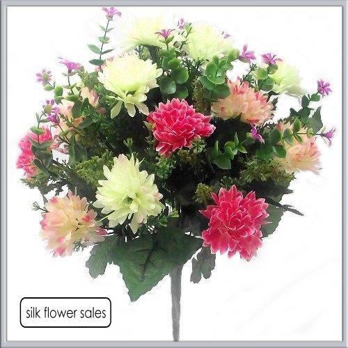 Grand Bouquet Rose/crème mixte Mum Bush avec beaucoup de feuillage