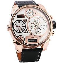 OULM Men Digital Quartz Watch 3 Time Sub-dials Leather Strap Rose Gold Oversize Case Military Japan Movement Luxury Design + Box