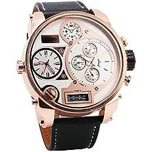 buy Oulm Men Digital Quartz Watch 3 Time Sub-Dials Leather Strap Rose Gold Oversize Case Military Japan Movement Luxury Design + Box