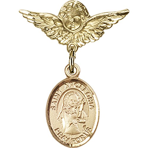 Gold Filled Baby Badge With St. Apollonia Charm And Angel W/Wings Badge Pin 1 X 3/4 Inches