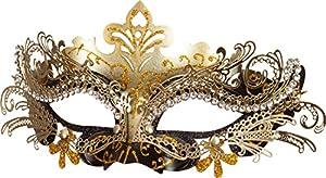 Fasching Metall-Maske (schwarz-gold)