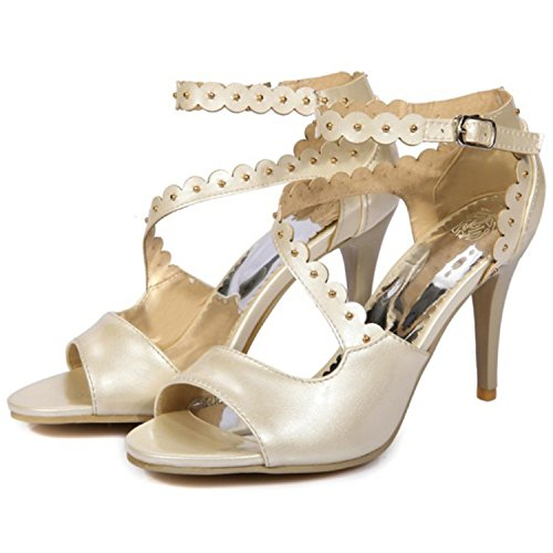 taminte Women's Trendy Rivets Studded Open Toe Ankle Strap Stiletto High Heel Sandals Beige6.5 B(M) US clean (Banner Coil Clean compare prices)