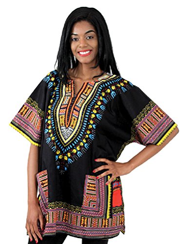 Traditional Thailand Style Dashiki - Available in Several Color Combinations (Black)