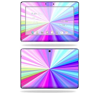 Mightyskins Protective Skin Decal Cover for Asus Transformer TF300 10.1 inch screen tablet stickers skins Rainbow Zoom