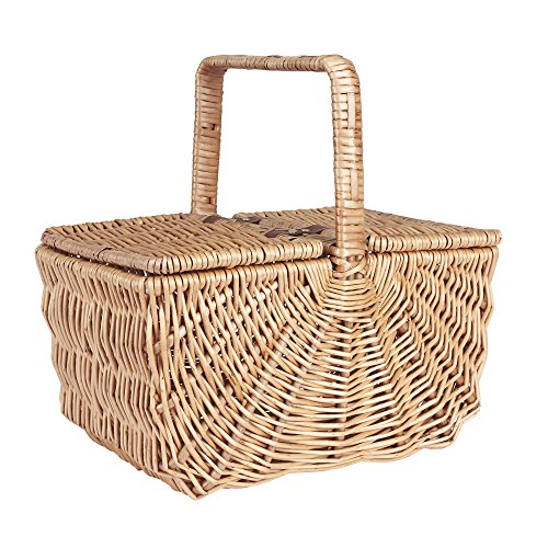 Household Essentials ML-2200 Dorothy Market Picnic Basket with Fixed Handle, Brown (Wicker Basket With Lid And Handle compare prices)