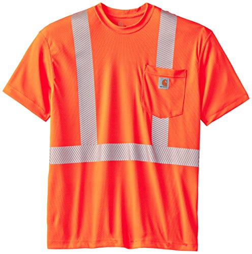 Carhartt Men's High Visibility Force Short Sleeve Class 2 Tee,Brite Orange,Large