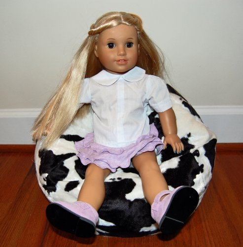 40% Off! Toy Bean Bag Chair For 18 Inch American Girl Sized Doll - Cow Faux Fur - Free Shipping! Made In Usa.