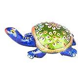 Rajgharana Handicrafts Multi Color Metal Meenakari Metal Tortoise - (8 Cm X 4 Cm)