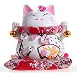 Maneki Neko - Japanese Lucky Cat with Two Bells - High-quality, Ornately Decorated Porcelain