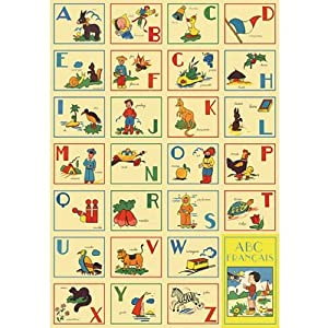 ABCs French Alphabet Decorative Decoupage Paper Poster Print