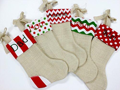 Christmas Stocking, Burlap Christmas Stocking, Red Green Chevron Christmas Stocking, Personalized Christmas Stocking