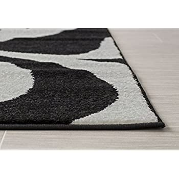 Super Area Rugs, Metro Black Damask Rug 5-Feet by 8-Feet 5x8 Designer Area Rug