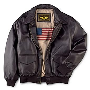 Landing Leathers Men's Air Force A-2 Leather Flight Bomber Jacket - Brown XXLT