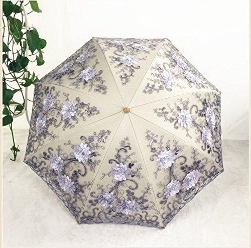 Honeystore Vintage Lace UV Sun Parasol Two Folding 3D Flower Embroidery Umbrella 1