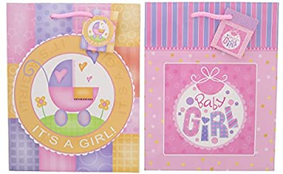 Gift Bags - Baby Shower Girl Gift Bag Baby Theme Assorted Styles- 6 Pack