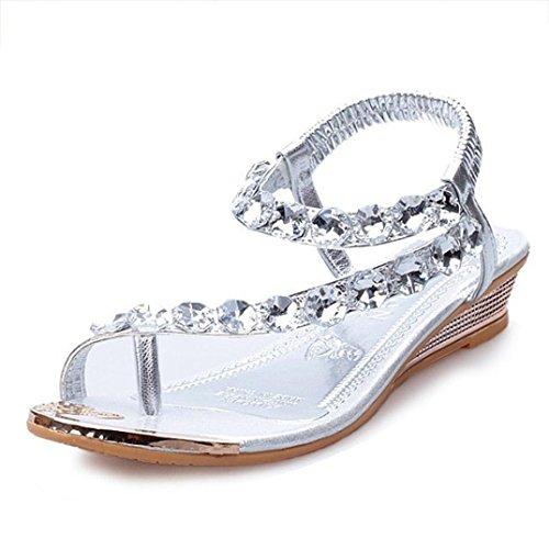 Fortan Sandali con strass Flats cunei della piattaforma donne di estate scarpe Infradito (EU=37, Argento)
