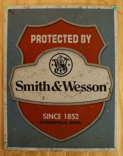 cartel-de-chapa-smith-wesson-protected-by-tamano-41-x-30-cm