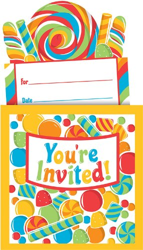 Creative Converting Sugar Buzz Pop-Up Style Party Invitations, 8 Count front-538590