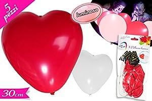 5 ballons de rouges et blancs brillants en forme de coeur avec conduit