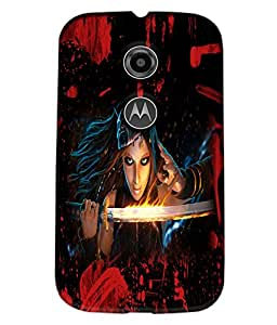 Fuson Blood Sword Girl Back Case Cover for MOTOROLA MOTO E2 - D3824