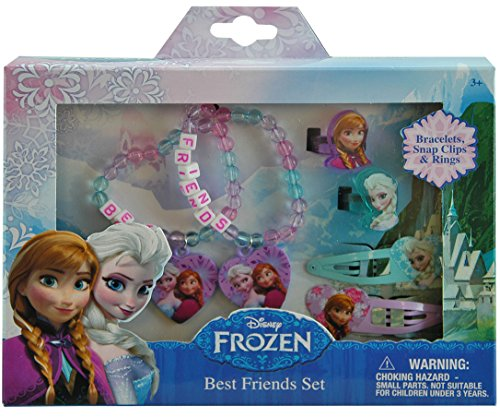 Disney Frozen Elsa and Anna Girls Hair and Jewelry Accessory 6 Piece Gift Set - 1