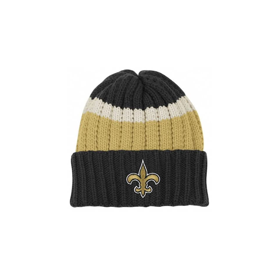 e740e768c96 New Orleans Saints Reebok Three Color Cuffed Knit Hat on PopScreen