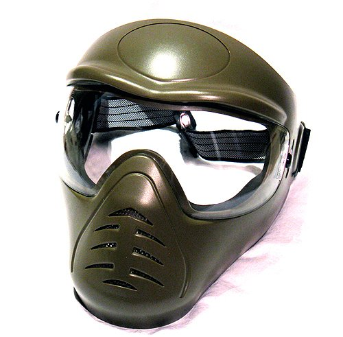 Hakkotsu full face airsoft mask low fog Olive