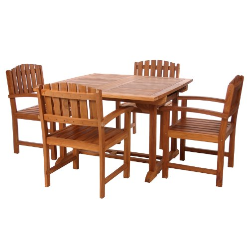 Teak 5 pc. Butterfly Leaf Table and Dining Chair Set - Patio and Garden Furniture