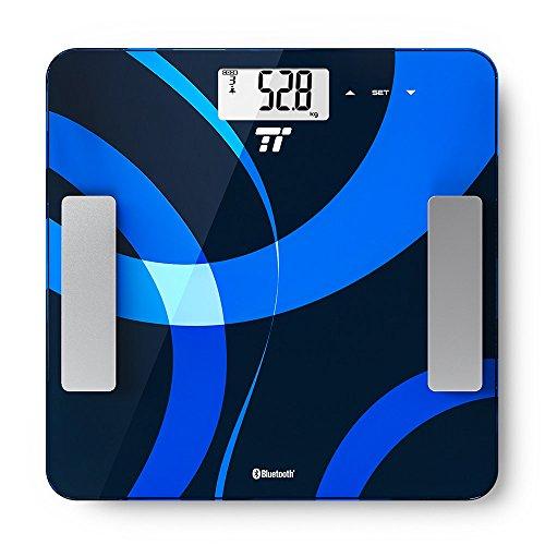 Pèse personne Intelligent TaoTronics Balance Connectée Touch Sense impédencemètre, Mesure Poids, IMC, Graisse, Eau, Muscle, Masse Osseuse, TMB & Taux Métabolique d'Activité, 12 Mémoires Utilisateur, Application Intelligente, Certifié FDA