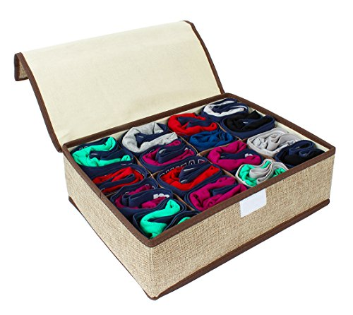 Kenather Drawer Divider Underwear Sock Tie Collapsible Storage Box Closet Organizer with Cover 8-Cell 1 Pcs Khaki (Ties Storage compare prices)