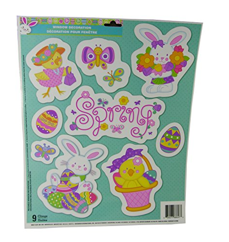 Easter Decorative Window Clings - Springs Theme- 9 Clings - 1