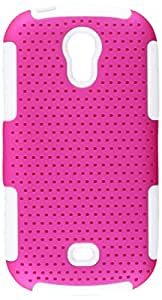 Aimo Wireless Progressive Hybrid Gummy Mesh Defense Case for Samsung Galaxy Light T399 - Retail Packaging - White/Hot Pink