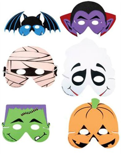 Set 6 Halloween Costume Masks Mummy Pumpkin Bat Ghost