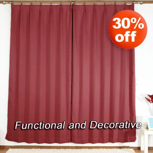 """Pinch Pleated Thermal Insulated Blackout Curtain 84""""L-1Set-BURGANDY"""
