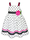 Good Lad Girls 4-6x Polka Dot Ribbon Rose Sun Dress, White/Black