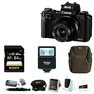 Canon PowerShot G5 X 20.2MP Digital Camera (Black) with Canon Deluxe Leather Case PSC-5400 & 32GB Accessory Bundle