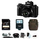 Canon PowerShot G5 X 20.2MP Digital Camera (Black) with 64GB SDXC Card and Digital Slave Flash Accessory Bundle