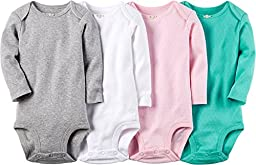 Carters Baby Girls 4 Pack Long Sleeve Bodysuits (Solids) (3 Months)