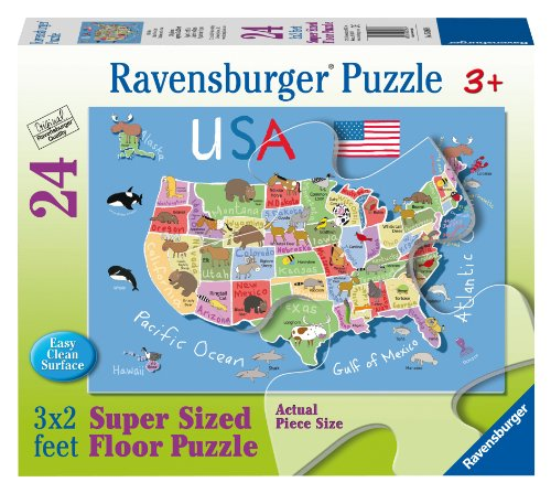 USA Map Floor Puzzle, 24-Piece