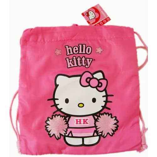 ".com: Sanrio's Hello Kitty Pink ""Cheerleader"" Drawstring Backpack"