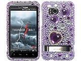 Hearts Purple 3D Bling Rhinestone Faceplate Diamond Crystal Hard Skin Case Cover for HTC Thunderbolt Incredible HD Mecha 6400