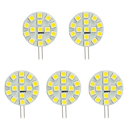 HERO-LED, T3, G4-Basis JC Bi-Pin LED-Halogen Xenon Ersatz Glühlampe, 12 V DC/AC oder 24 V DC, Schreibtischlampen, Pendelleuchte, Puck-Unter-counter-Lichter, Unterschrank-Leuchten, Marine, Boote, Yachten, Accent, Landschafts- und Display, allgemeine Beleuchtung, 15 SMD-LEDs, entspricht 30 W, 5 Stück, Warmweiß 3000k, G4, 3.00 wattsW 12.00 voltsV