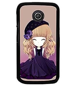 Printvisa Animated Girl With Blue Dress And Flowers In Hair Back Case Cover for Motorola Moto E XT1021::Motorola Moto E (1st Gen)