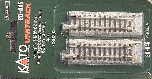 "Kato N Scale Unitrack 2 7/16"" 62mm Conversion Track 2 Pack KA-20-045"